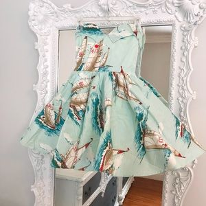SAILBOAT Vintage Printed Strapless 40's Dress